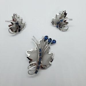 Bond Boyd Sterling leaf brooch and earrings